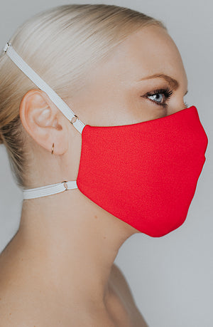 Model wearing Protected AF mask in Cherry by Katie May