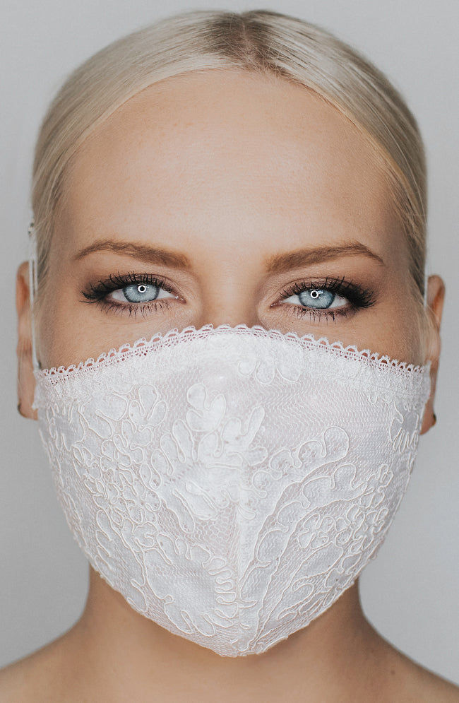 Model is wearing Make It Fashion Mask in Ivory/Ivory by Katie May