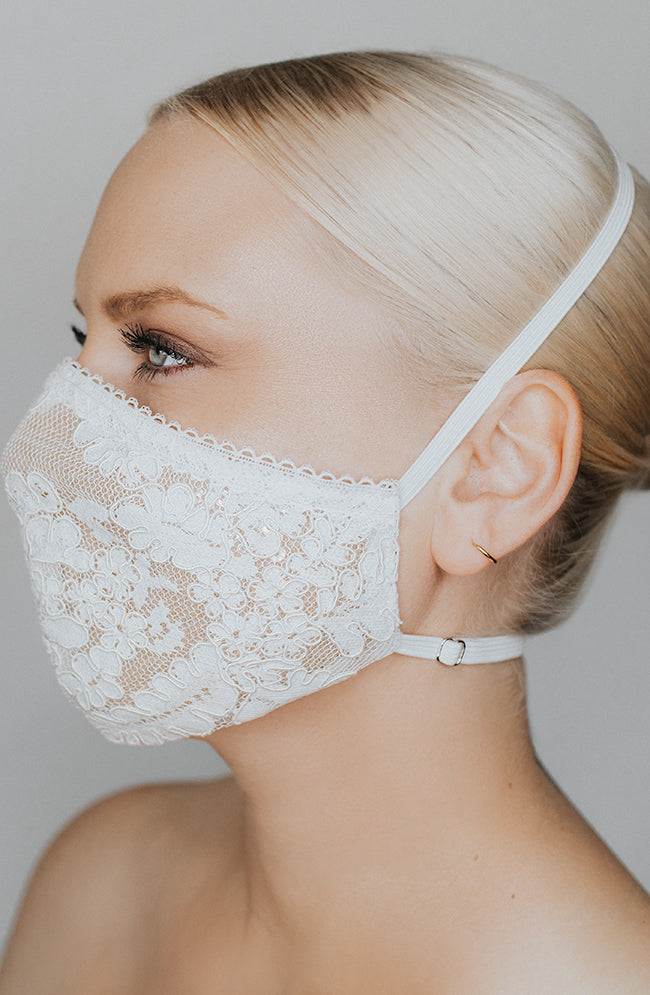 Model is wearing Make It Fashion Mask in Ivory/Nude by Katie May