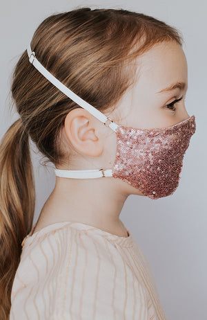 Model wearing Disco Ball Mini mask in Sparking Rose by Katie May