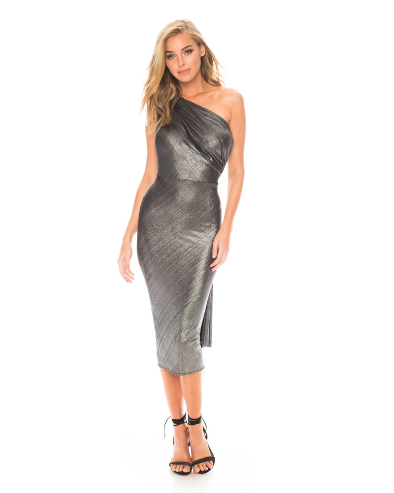 Model wearing Kong dress in Silver Metallic by Katie May