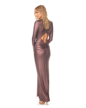 Model wearing In A Mood! dress in Plum Metallic by Katie May