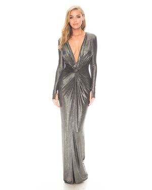 Model wearing In A Mood! dress in Silver Metallic by Katie May
