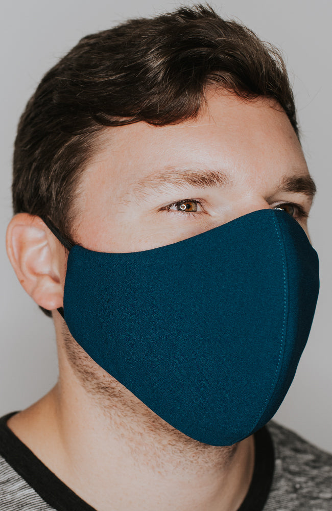 Model wearing practiCALI mask in Dark Teal by Katie May