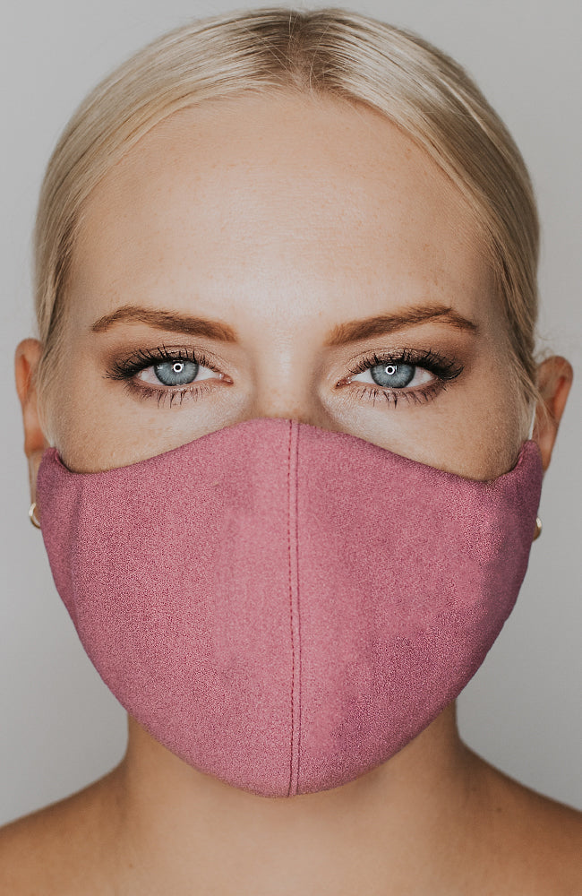 Model wearing practiCALI mask in Mulberry by Katie May
