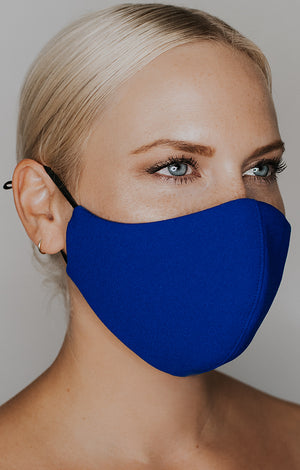 Model wearing practiCALI mask in Royal Sapphire by Katie May