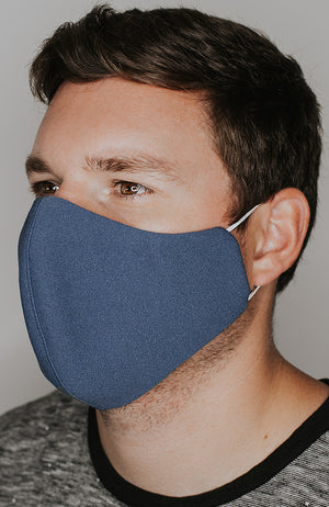 Model wearing practiCALI mask in Steel Blue by Katie May