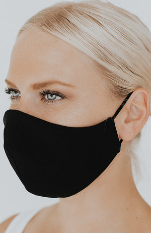 Model wearing Protected AF with Ear Loops in Black by Katie May