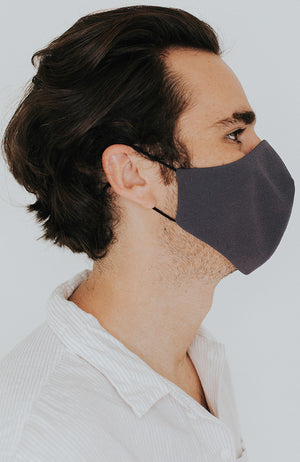Model wearing Protected AF with Ear Loops in Charcoal by Katie May