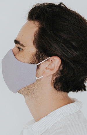 Model wearing Protected AF with Ear Loops in Dove by Katie May