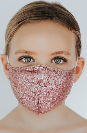 Model wearing Disco Ball Mini mask in Sparkling Rose by Katie May