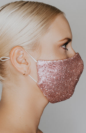 Model wearing Disco Ball mask in Sparkling Rose by Katie May