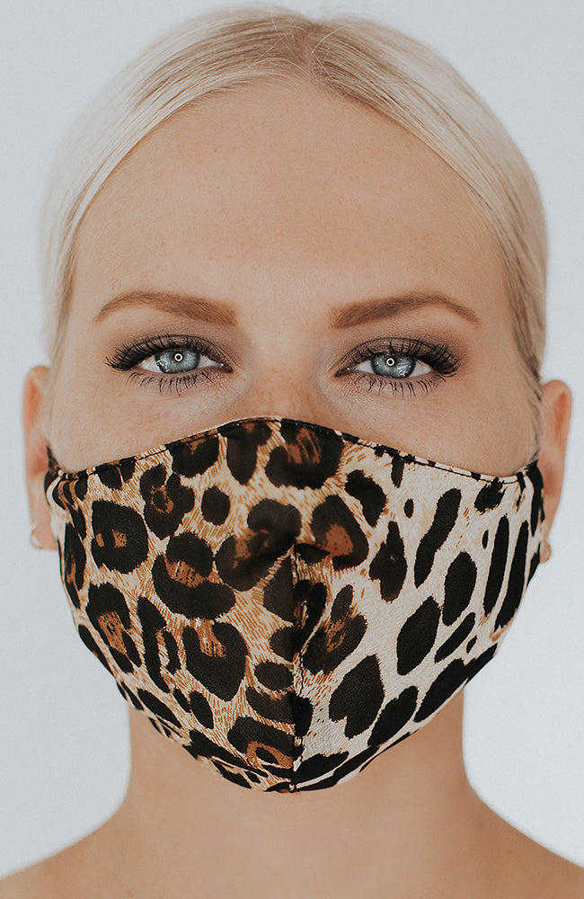 Model wearing Kitty May mask in Leopard by Katie May