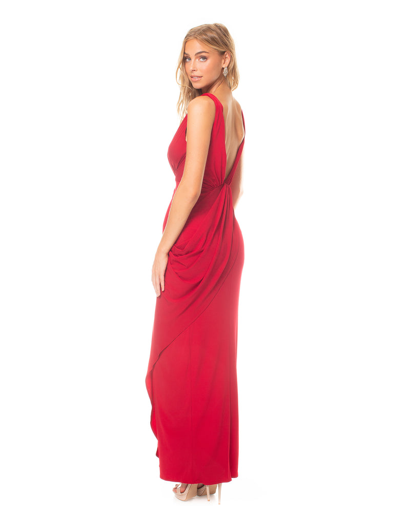 Model wearing Leo dress in Red by Katie May