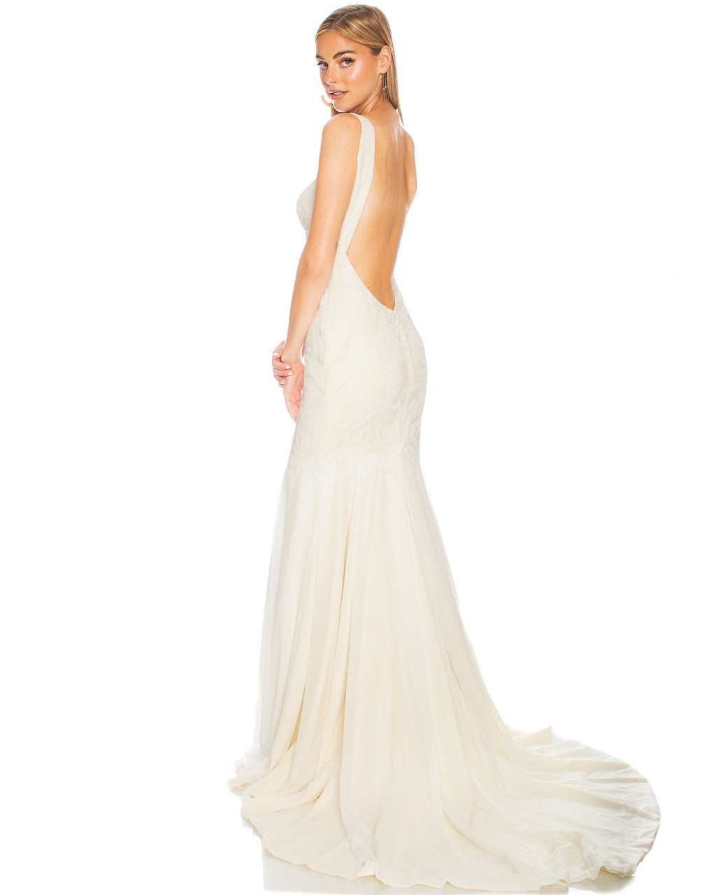 Model wearing Monaco bridal gown in Ivory/Champagne by Katie May
