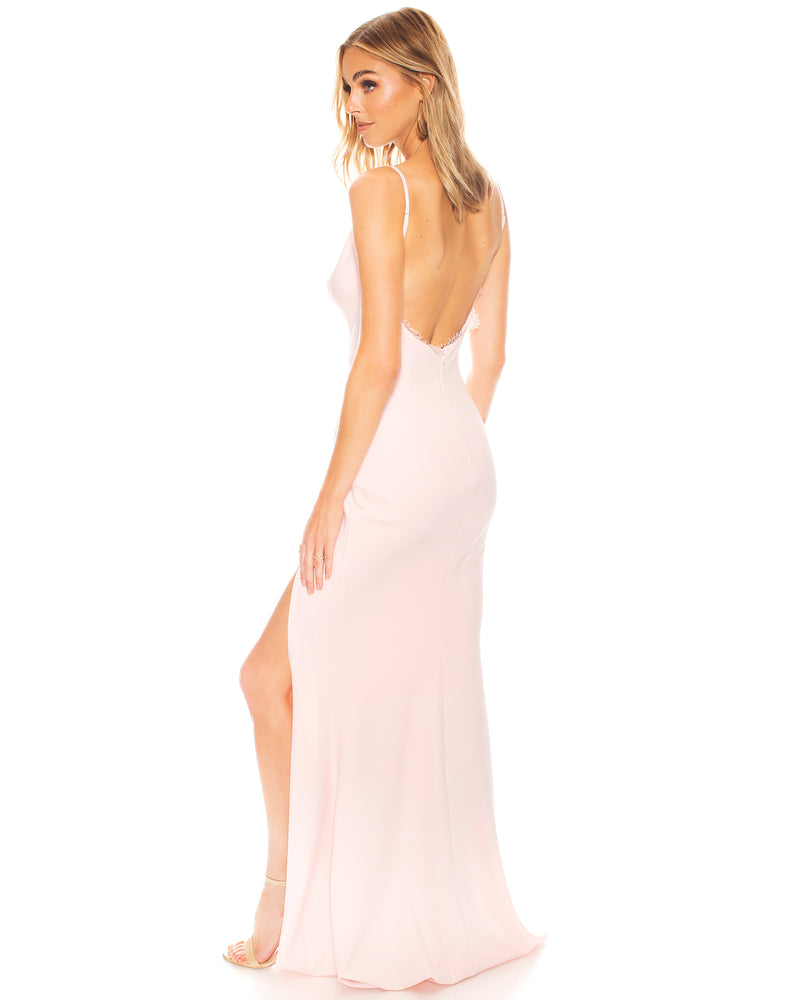 Model wearing Saylor gown in Blush by Katie May