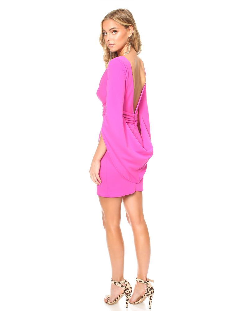 Model wearing pink special occasion Katie May dress