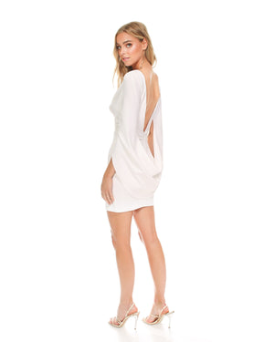 Model wearing Move Over dress in Ivory by Katie May