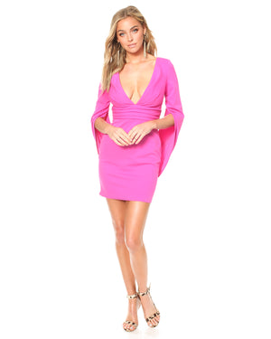 Model wearing Move Over dress in Electric Pink by Katie May