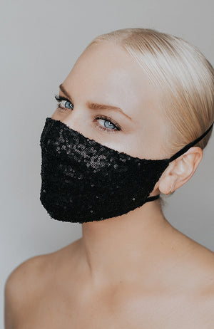 Coronavirus face mask in black with sparkle called Disco Ball by Katie May