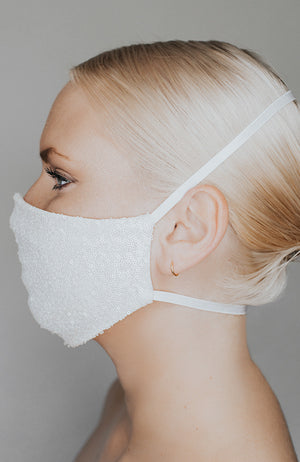 Coronavirus face mask in ivory with sparkle called Disco Ball by Katie May
