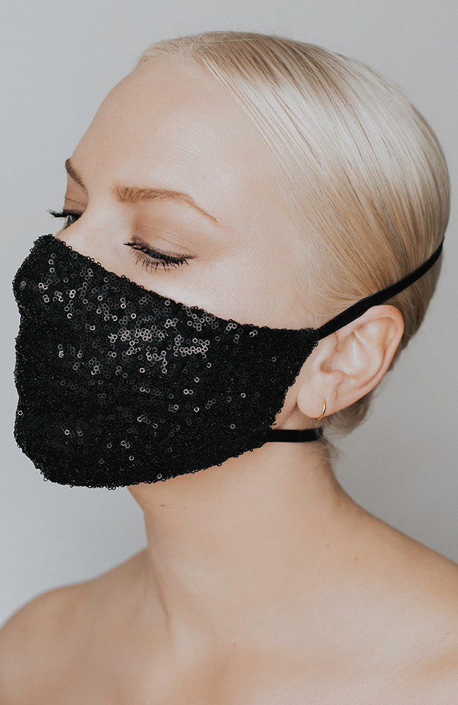 Coronavirus face mask in black with sparkle by Katie May