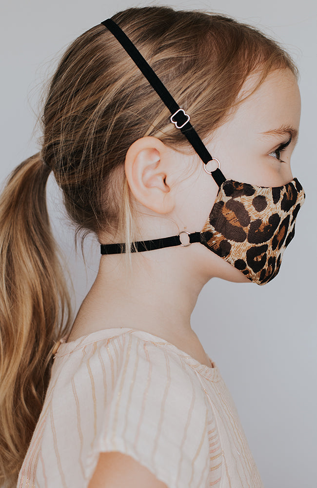 Model wearing Kitty May Mini mask in Leopard by Katie May