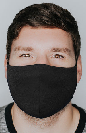 Model wearing Protected AF mask in Black by Katie May
