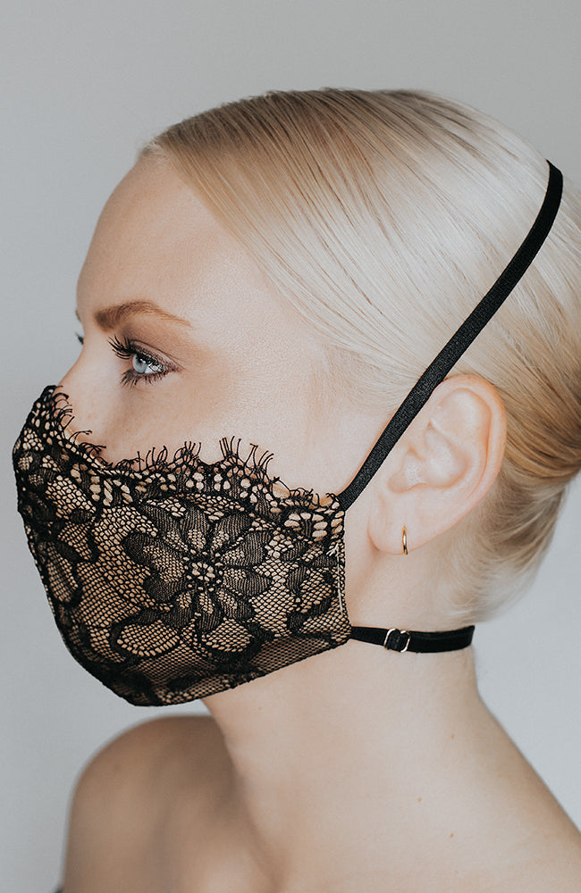 Model wearing Provocatuer coronavirus face mask in black with lace by Katie May