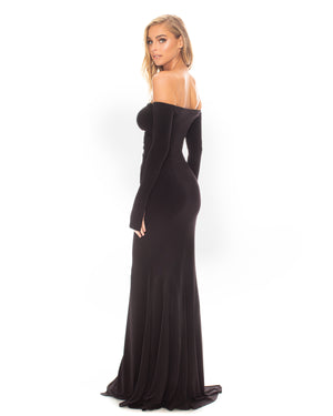Model wearing Show Off dress in Black by Katie May