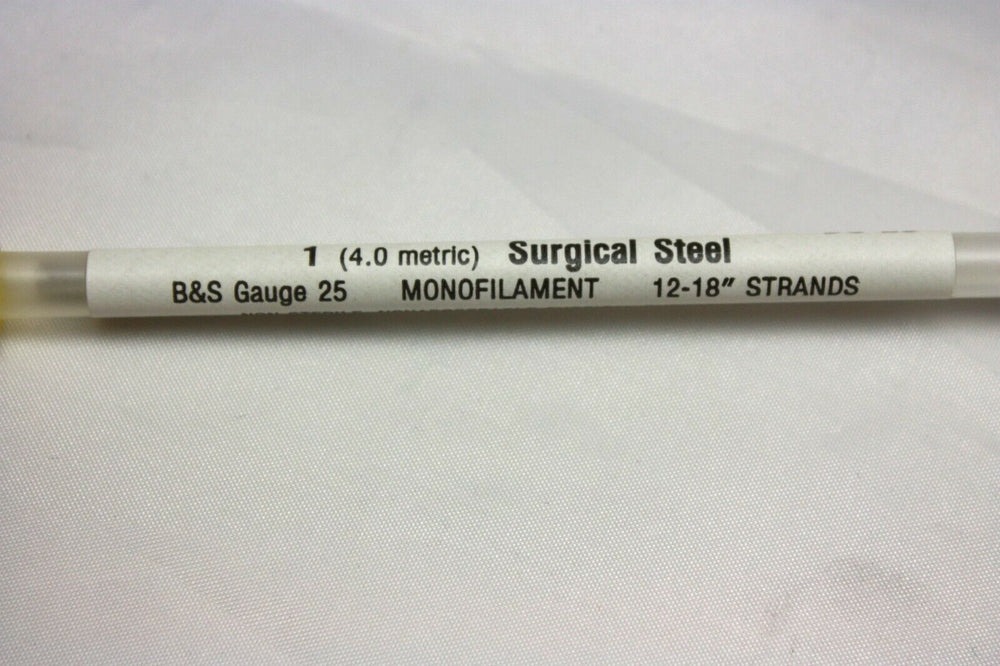 ETHI-PACK Size 1 Surgical Steel 25 Gauge B&S Monofilament Pre-Cut Sutures(106GS)