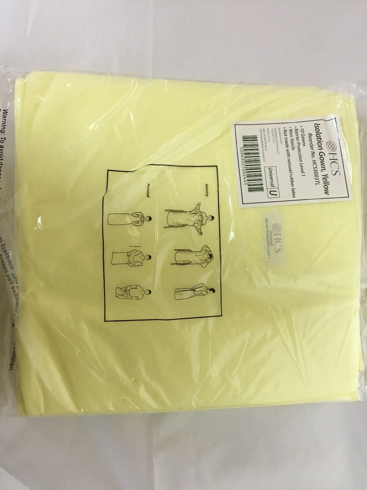 HCS HCS3003TL Isolation Gown, Yellow, Universal | KeeboMed