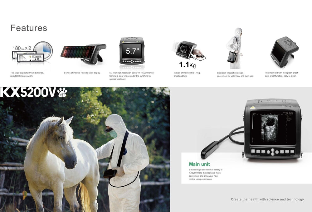 KX5200V Veterinary Wrist Ultrasound, with Rectal Probe 5.5/6.5/7.5MHz | KeeboMed