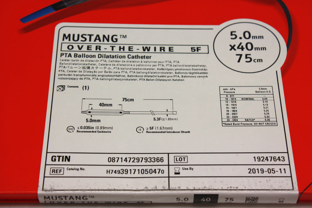 Mustang Over-the-Wire PTA Balloon Dilatation Catheter 5.0mm