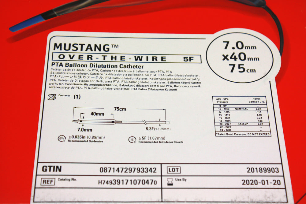 Mustang Over-the-Wire PTA Balloon Dilatation Catheter 7.0mm