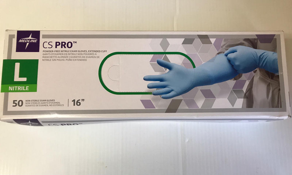 "Medline CS16L CS Pro Nitrile Exam Gloves Extended Cuff 16"" Large 