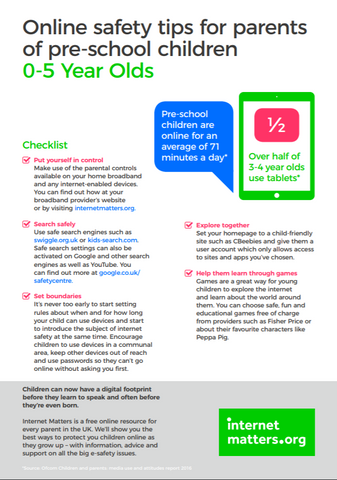 Internet Matters - Online safety guide for parents of 0-5 year olds