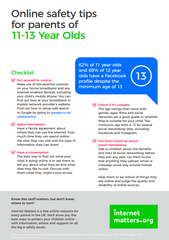 Internet Matters - Online safety guide for parents of 11-13 year olds