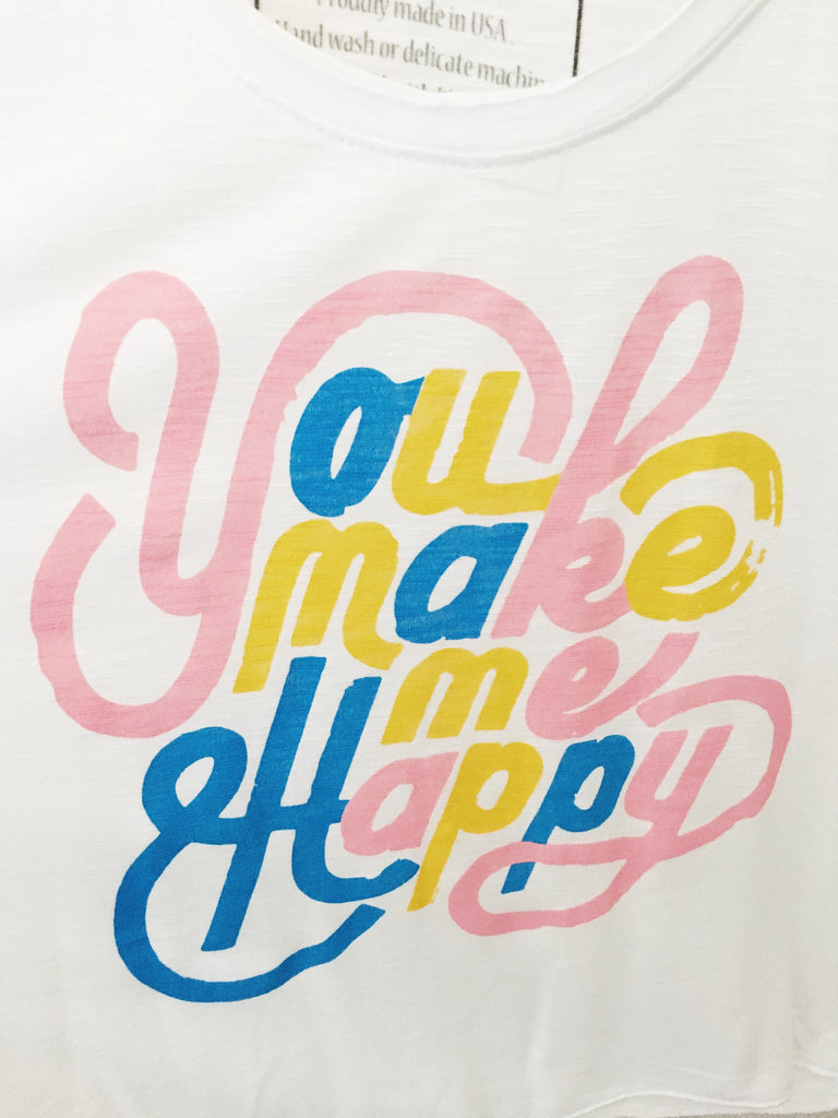You Make Me Happy raw edge oversized tank