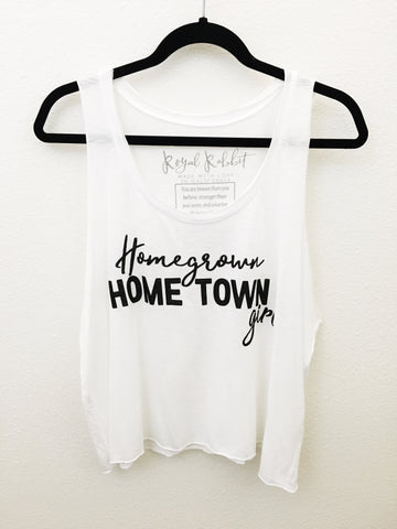 Homegrown Hometown Girl raw edge oversized tank