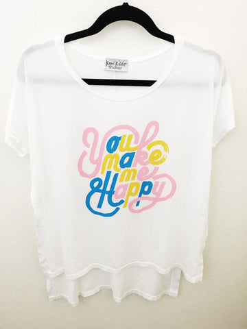 You Make Me Happy side slit hi- low tee
