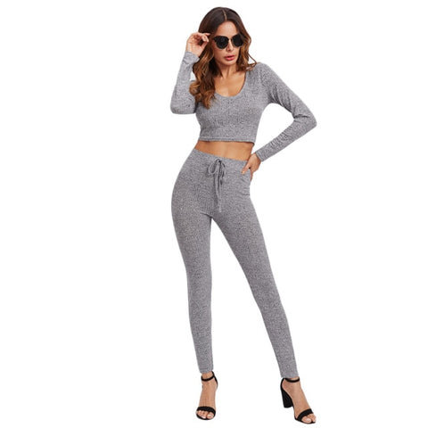 SweatyRocks Grey Rib Knit Hoodie Tee & Leggings 2 Piece Set
