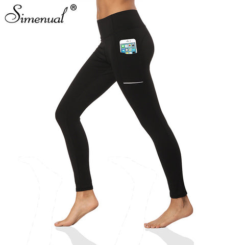 Simenual Solid Black Workout Active Wear Leggings With Pockets