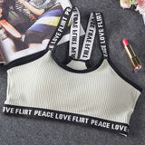 Letter Sports Push Up Bra/Fitness Top