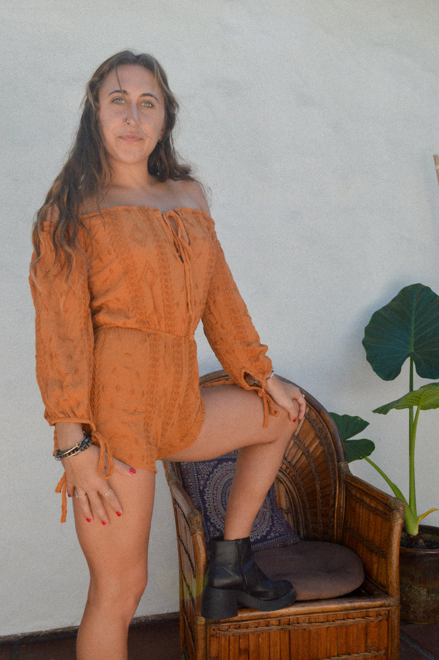 Burnt Orange Bohemian Romper