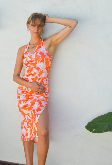 Colorful Pink&Orange Camouflage Halter Dress