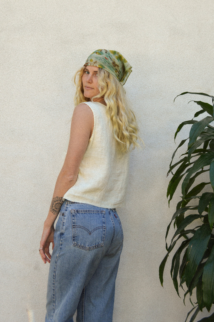 Yellow Linen Cropped Tank