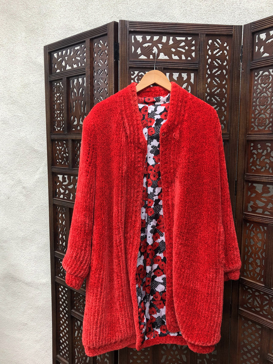 Vibrant Fluffy Red Jacket