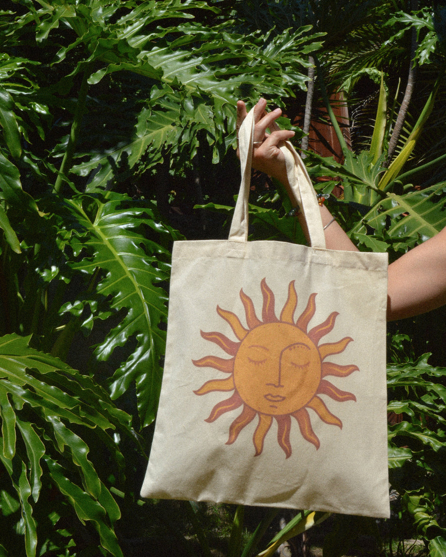 Sun Art Canvas Tote Bag | eco friendly reusable shopping bag, aesthetic tote bag, gift for her, sun art illustration, shopping bag