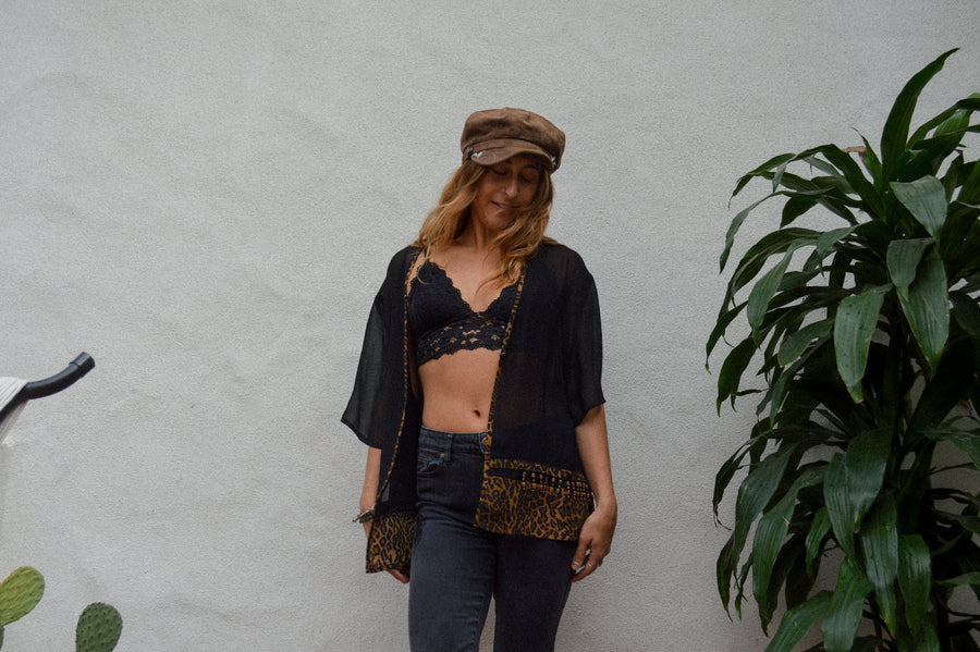 Sheer Black Cheetah Top || boho style, festival fashion, cheetah, cover-up, funky top, flowy top, button top, beaded top, vintage